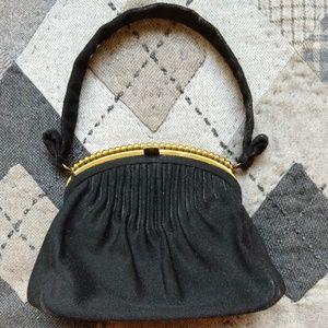 Vtg 60s Black Velvet Jenny Evening Bag